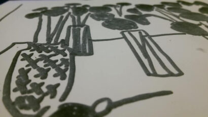 Image shows detail of swell paper drawing from Whitechapel verbally described session