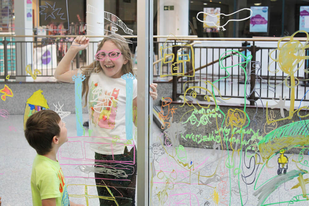 Family Art Fun Day Draw Over See Through