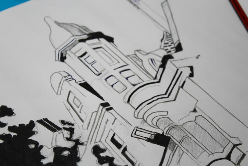 black and white architecture drawing
