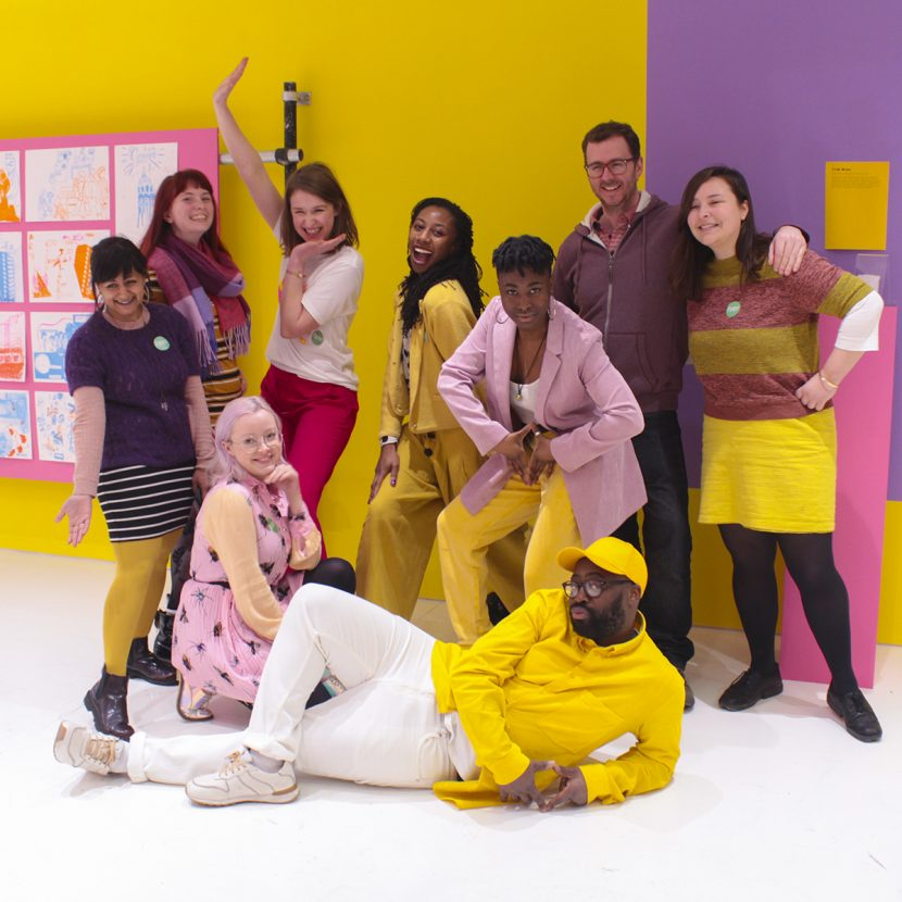 Photo of most team members with Artist Harold Offeh in their exhibition 'Croydon Plays Itself'