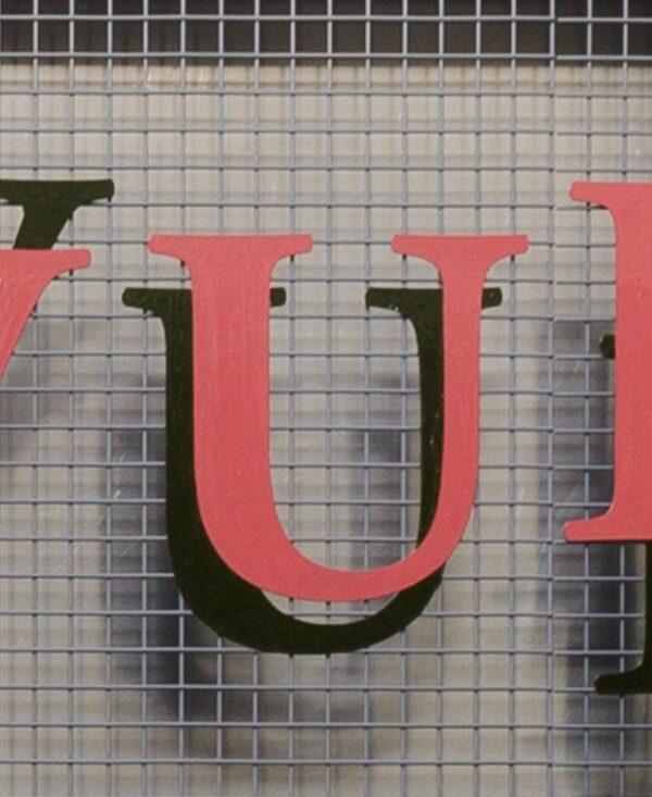 Frivolous convulsions letter 'U' coral and black