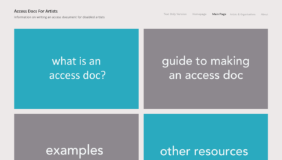 A screenshot of the website accessdocsforartists.com