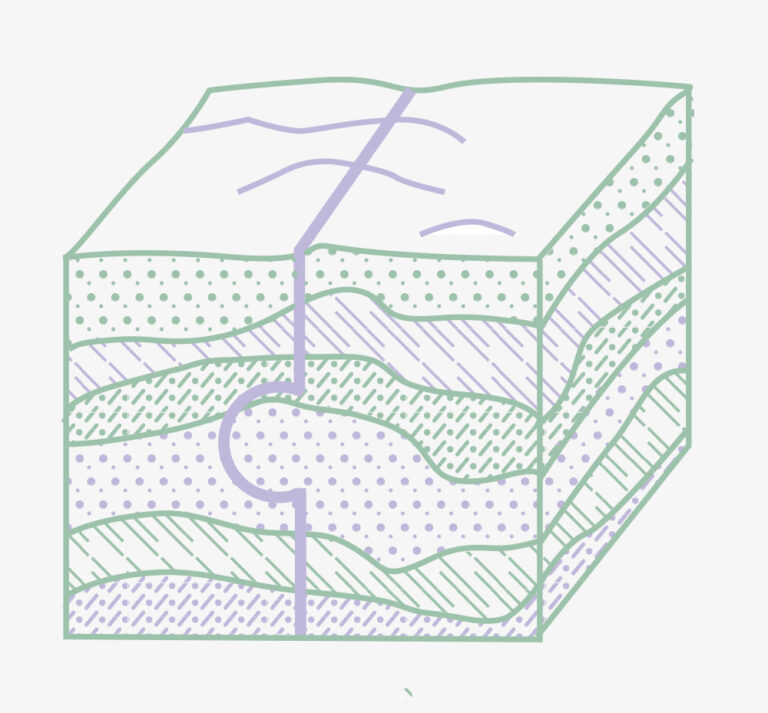 An illustration of a box made to look like a cross-section of a landscape, each half shaped like a puzzle piece connecting together