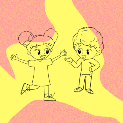 Two children play on a colourful background