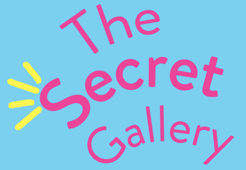 Blue background, pink happy text says 'The Secret Gallery'
