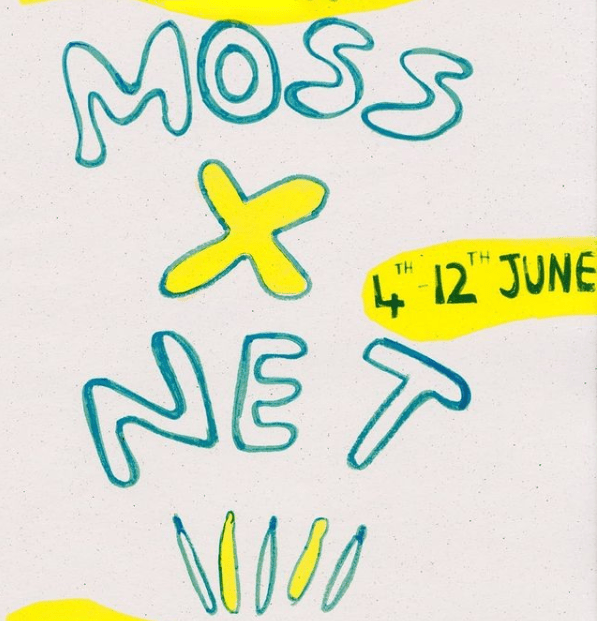 The MOSS x NET poster, with the title written in bubble text.