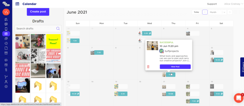 A screenshot shows the Sked Social interface in calendar view