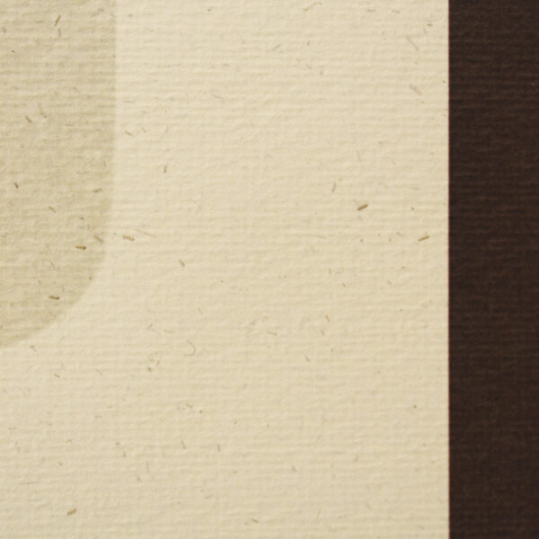 A closeup of the paper - this paper is a textured and flecked cream paper