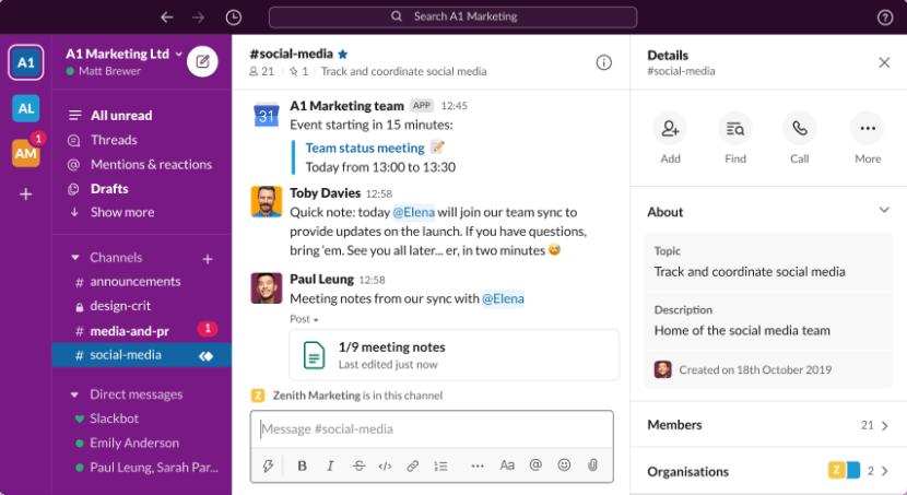 A screenshot of Slack, showing team members chatting