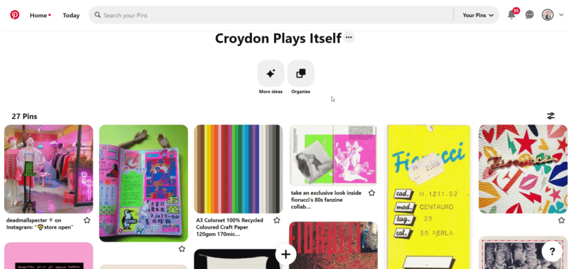 A screenshot shows the Pinterest moodboard for 'Croydon Plays Itself'