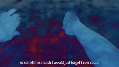 Two hands appear to be swimming in water. The subtitle reads, 'So sometimes I wish I could forgot I ever could.'
