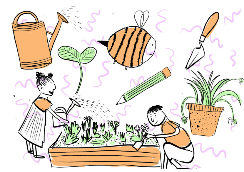 illustrations of a watering can, a bee, a sapling, a trowel, a plant pot, a pencil and 2 children tending to a bed of plants.