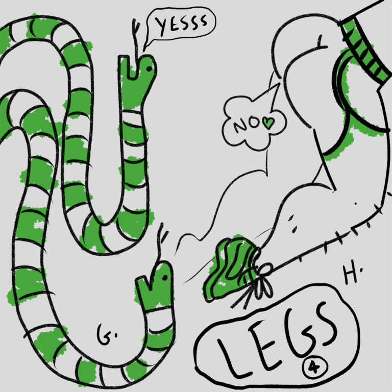 An illustration shows two options for legs for a monster - one snakey snakes, the other sexy lithe limbs