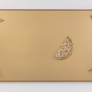 PEBBLES PIZZA ROTATION Agnes Calf 126 x 210 x 13cm Mixed media