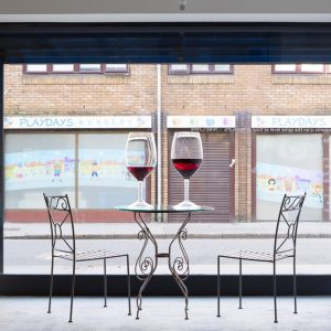 Amanda Ross-Ho Warm Wine (Pinot Noir), 2014 Two lead-free crystal glasses, urethane 106.7 x 50.8 cm Courtesy of The Approach, London  Photo: Tim Bowditch