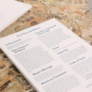 Erik Benjamins En la tierra del mañana (menu), 2015 Risograph print on paper, edition of 100 30 x 42 cm  Photo: Tim Bowditch