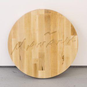Erik Benjamins En la tierra del mañana (cutting board), 2015 Oiled maple butcher block 46 x 46 x 5 cm  Photo: Tim Bowditch