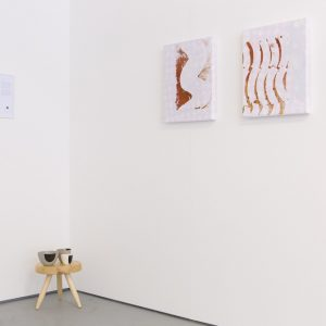 Celine Condorelli Score for a school of design fiction refectory, 2014 Laid out by James Langdon Black and white laser print A4  Celine Condorelli Deodand, 2014 Dipped porcelain bowls 8 x 7 cm  Mike Cooter Charlotte Perriand stool ('Tabouret Berger'), 2015 Unvarnised, uncut, European Ash. Designed c. 1953, refabricated to orginal specifications (2015) 32.4 diameter (35.8 at base) cm x 27 cm  George Little Napery – A Romantic Gesture, 2015 Acrylic and spray paint, kitchen grease, acrylic medium, PVC on Damask linen 50 x 40 cm  George Little Napery – Steady Hands, 2015 Acrylic and spray paint, kitchen grease, acrylic medium, PVC on Damask linen 50 x 40 cm  Photo: Tim Bowditch