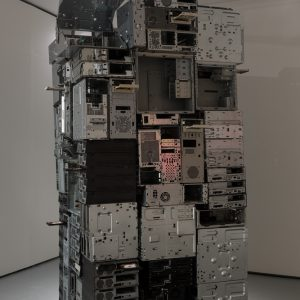 a tower made of computer sheels