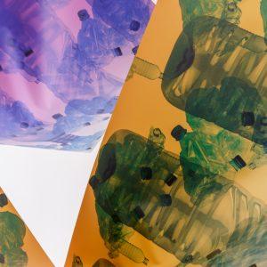 Detail of 'Hammocks for the Future'  Mette Boel digital print on tarp, eye lets, para cord, trockles 200 x 100 x 120 cm 2018