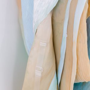 Detail of 'Soft Cover (blushing)'  Leah Carless Powder coated steel, silicone, make-up pigments, 15 denier tights, transparent bra strap. 210 x 65 x 37 cm 2018 Supported by The New Art Gallery Walsall