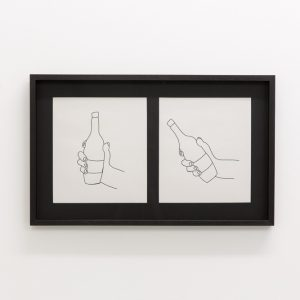 2 illustrations of a hand holding a bottle