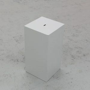 white rectangular donations box