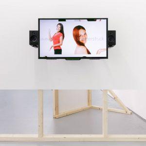 two women posing on a screen