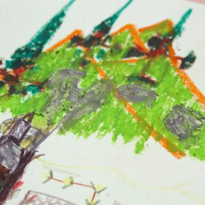 drawing of a hilly landscape