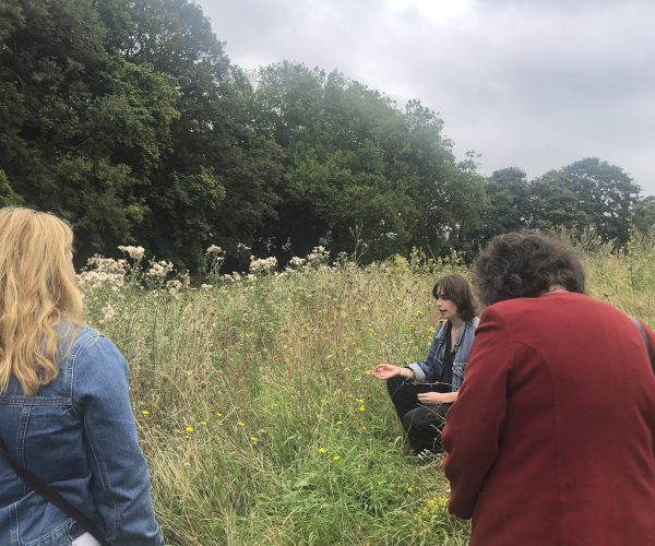 Artist Natasha Moody crouches by a meadow, chatting to a small crowd